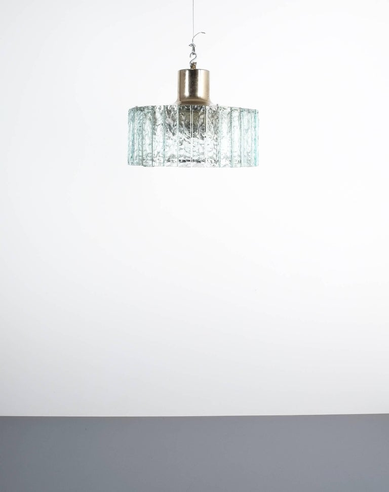 Fontana Arte Model 2448 Glass Nickel Flush Mount Chandelier, Italy, circa 1967 For Sale 6