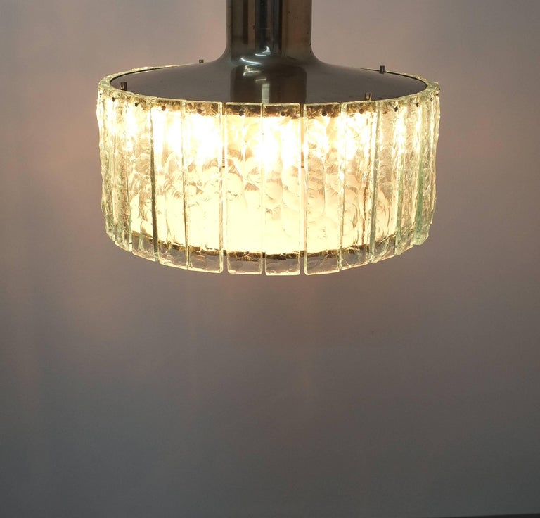 Fontana Arte Model 2448 Glass Nickel Flush Mount Chandelier, Italy, circa 1967 For Sale 2