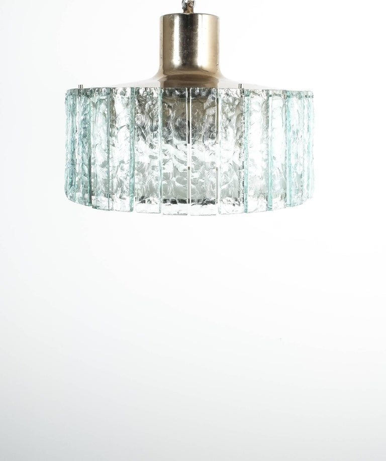 Italian Fontana Arte Model 2448 Glass Nickel Flush Mount Chandelier, Italy, circa 1967 For Sale
