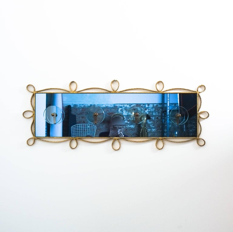 Mid-Century Modern Large Iron Blue Glass Mirror Pierluigi Colli Coatrack Wall Wardrobe, Italy, 1955 For Sale