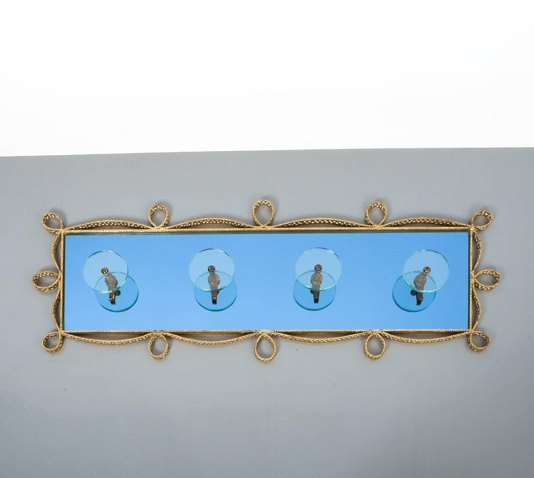 Large Iron Blue Glass Mirror Pierluigi Colli Coatrack Wall Wardrobe, Italy, 1955 For Sale 4