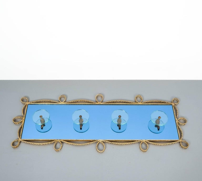 Mid-20th Century Large Iron Blue Glass Mirror Pierluigi Colli Coatrack Wall Wardrobe, Italy, 1955 For Sale