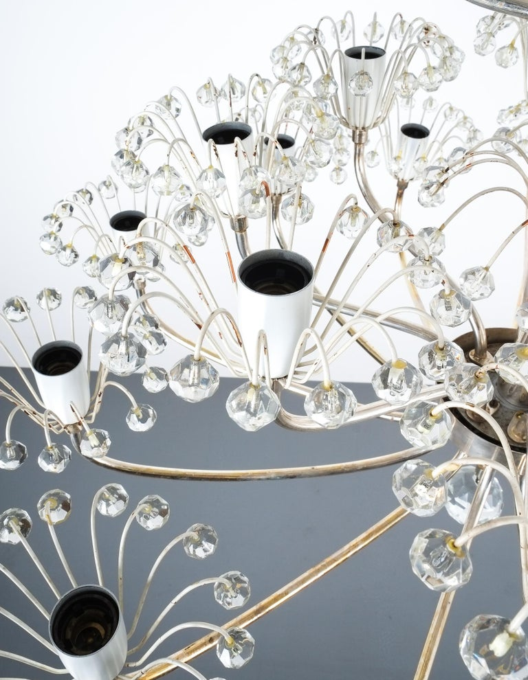 Set of Three Emil Stejnar Chandeliers Silver Glass, Austria For Sale 3