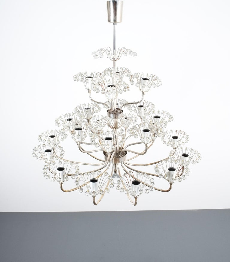 Austrian Set of Three Emil Stejnar Chandeliers Silver Glass, Austria For Sale