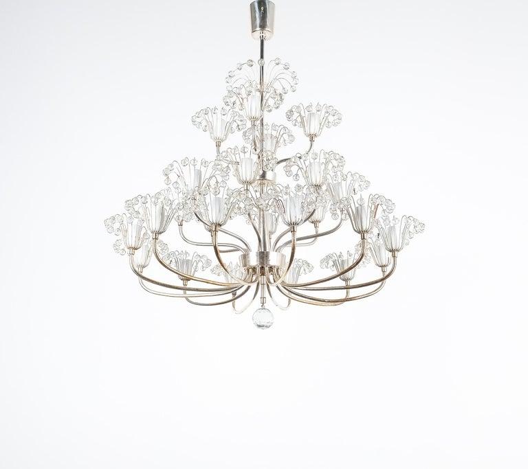 Mid-Century Modern Set of Three Emil Stejnar Chandeliers Silver Glass, Austria For Sale