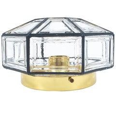 Iron and Clear Glass Lantern Flush Mount Lamp by Limburg