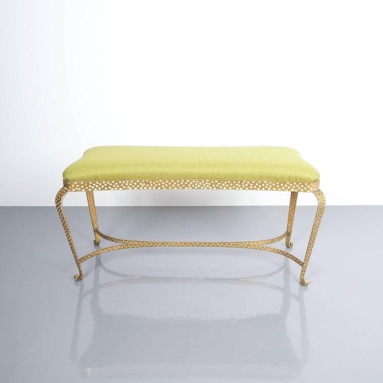 Pier Luigi Colli gold iron bench green fabric, Italy, 1950. Pair of large 34