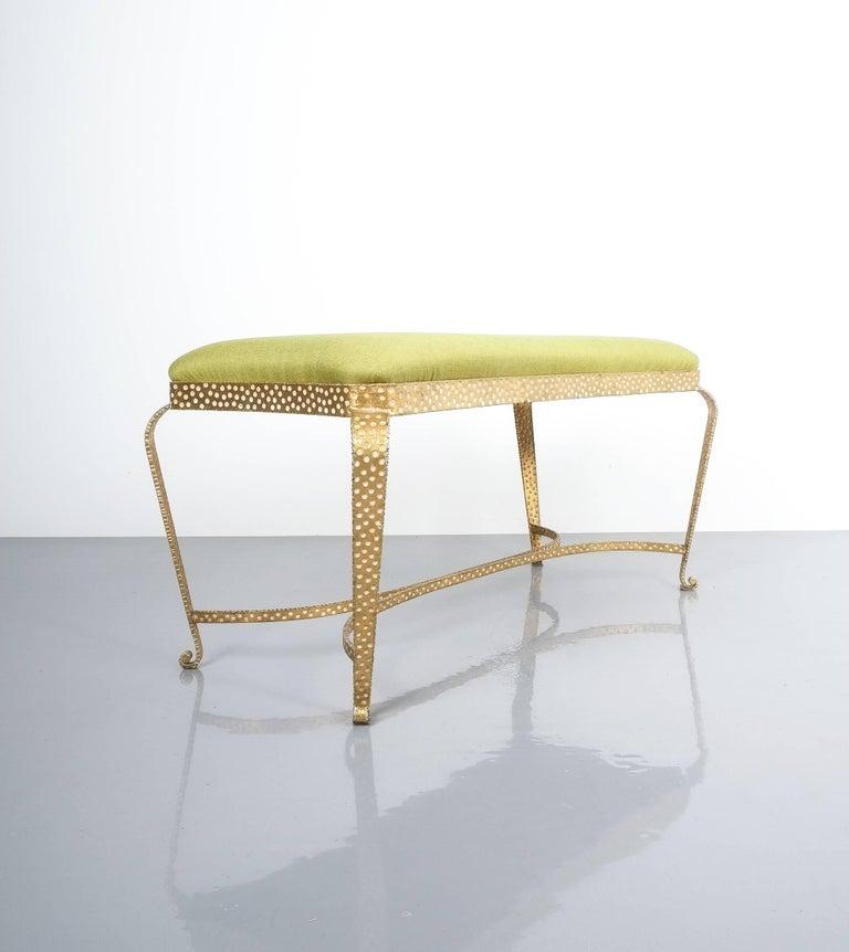 Mid-Century Modern Pair Of Pier Luigi Colli Gold Iron Bench Green Fabric, Italy, 1950 For Sale
