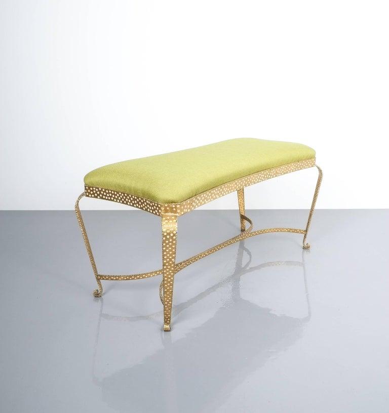 Italian Pair Of Pier Luigi Colli Gold Iron Bench Green Fabric, Italy, 1950 For Sale