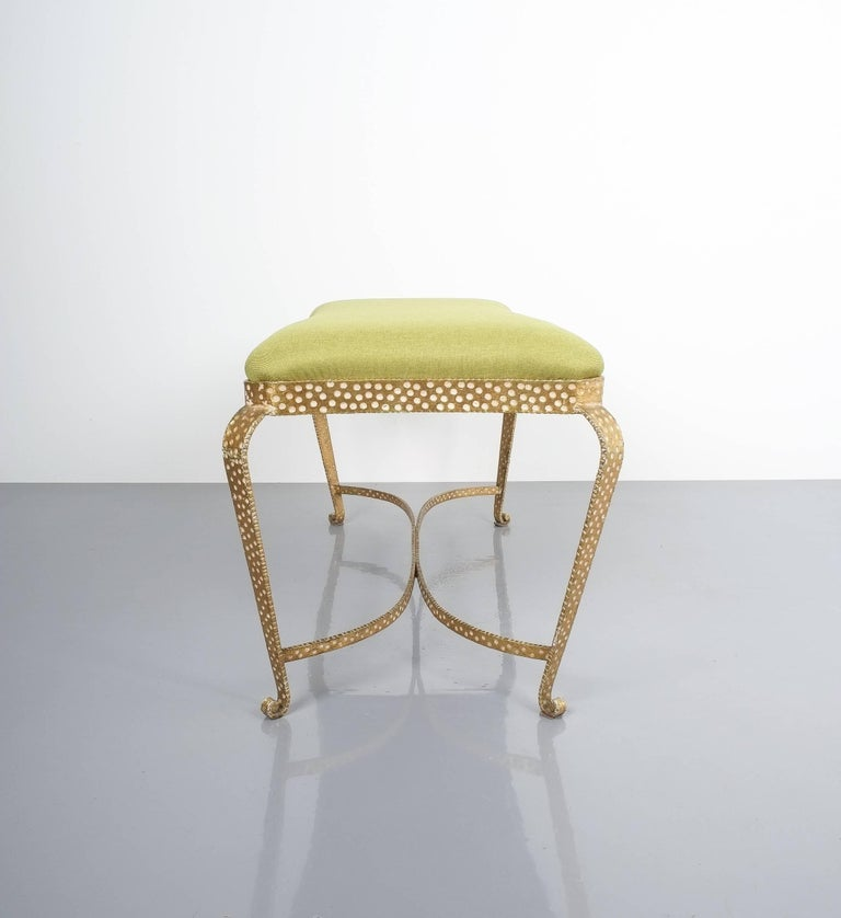 Mid-20th Century Pair Of Pier Luigi Colli Gold Iron Bench Green Fabric, Italy, 1950 For Sale