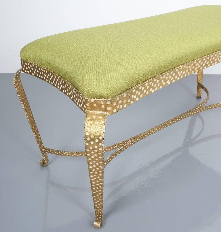 Gilt Pair Of Pier Luigi Colli Gold Iron Bench Green Fabric, Italy, 1950 For Sale