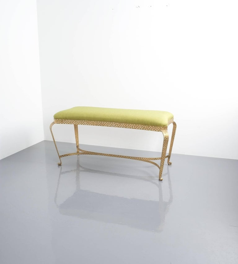 Pair Of Pier Luigi Colli Gold Iron Bench Green Fabric, Italy, 1950 For Sale 1
