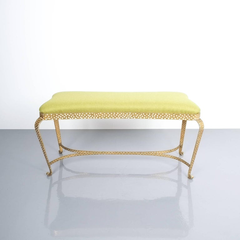 Pair Of Pier Luigi Colli Gold Iron Bench Green Fabric, Italy, 1950 For Sale 2