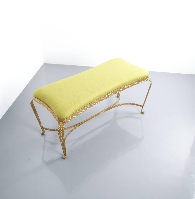 Pair Of Pier Luigi Colli Gold Iron Bench Green Fabric, Italy, 1950 For Sale 3