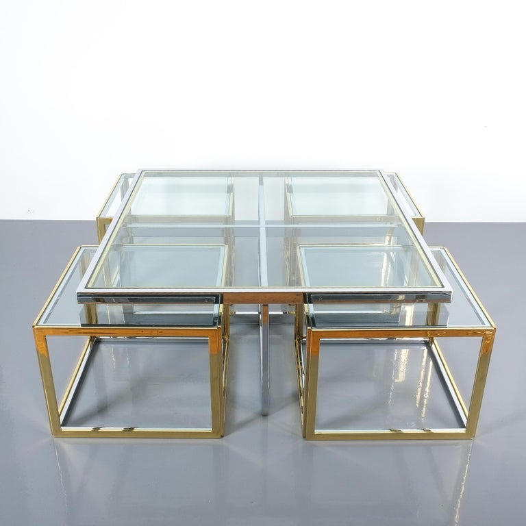 French Square Segment Bicolor Brass Glass Coffee Table by Maison Charles, France, 1975 For Sale
