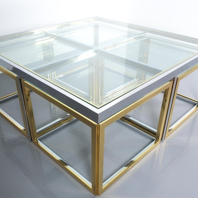 Square Segment Bicolor Brass Glass Coffee Table by Maison Charles, France, 1975 For Sale 4