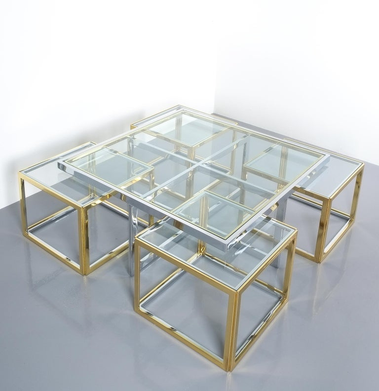 Late 20th Century Square Segment Bicolor Brass Glass Coffee Table by Maison Charles, France, 1975 For Sale