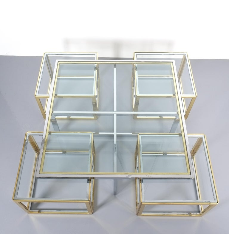 Chrome Square Segment Bicolor Brass Glass Coffee Table by Maison Charles, France, 1975 For Sale