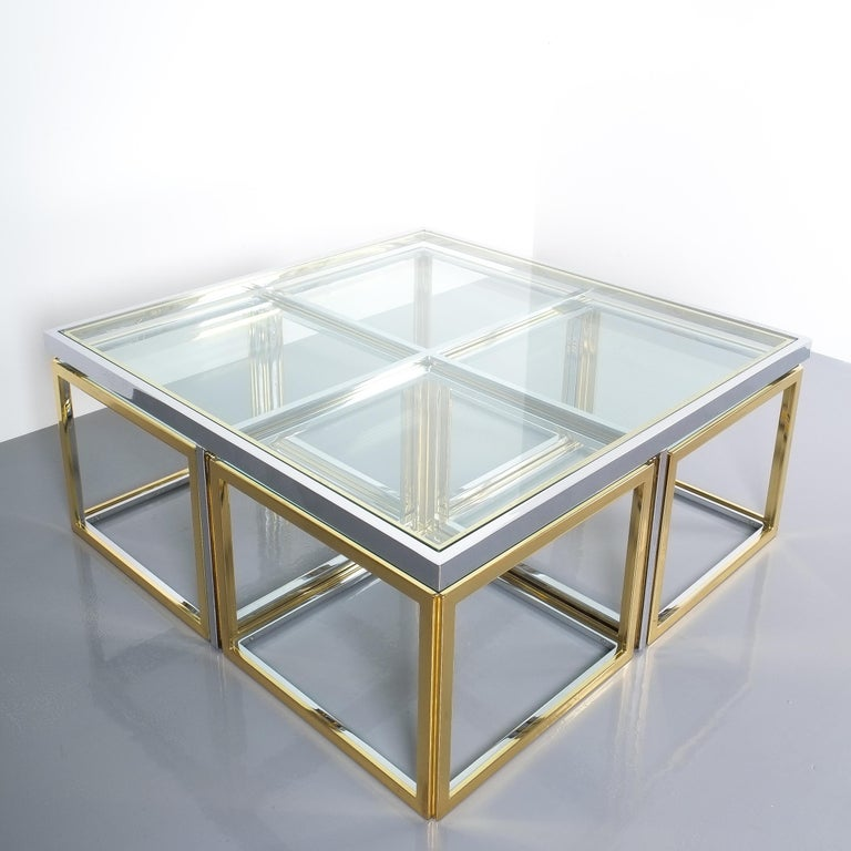 Square Segment Bicolor Brass Glass Coffee Table by Maison Charles, France, 1975 For Sale 3