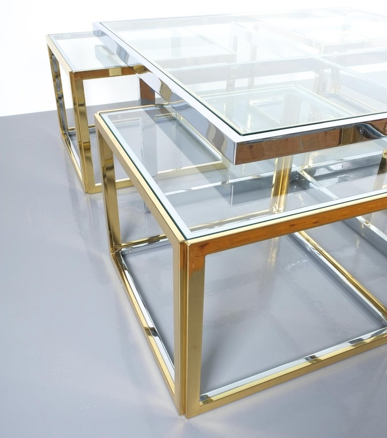Square Segment Bicolor Brass Glass Coffee Table by Maison Charles, France, 1975 For Sale 1
