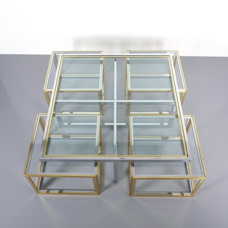 Hollywood Regency Square Segment Bicolor Brass Glass Coffee Table by Maison Charles, France, 1975 For Sale