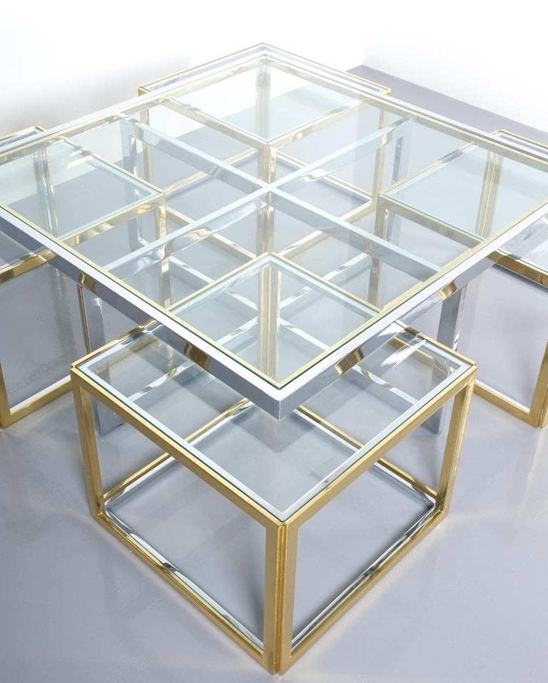Square Segment Bicolor Brass Glass Coffee Table by Maison Charles, France, 1975 For Sale 2