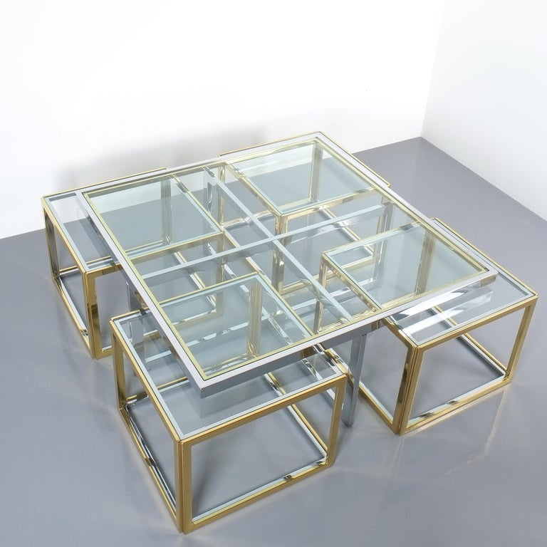 Square Segment Bicolor Brass Glass Coffee Table by Maison Charles, France, 1975 In Excellent Condition For Sale In Vienna, AT