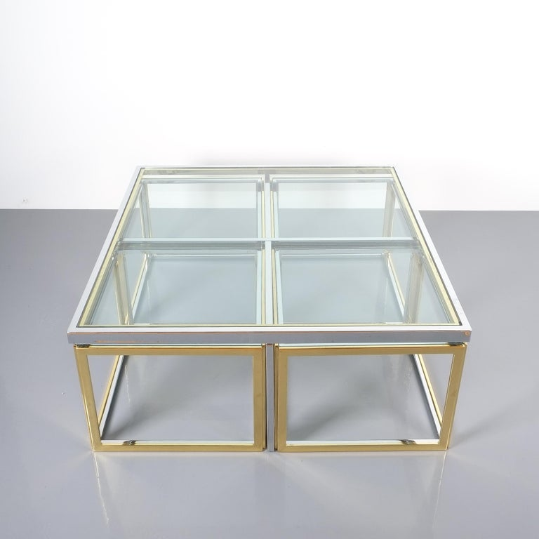 Square Segment Bicolor Brass Glass Coffee Table by Maison Charles, France, 1975 For Sale 5