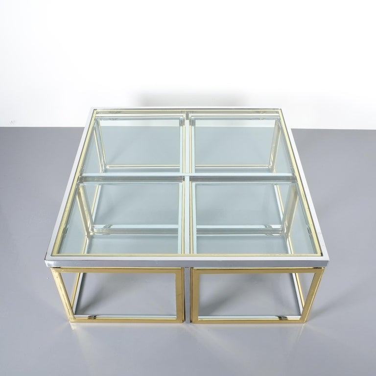 Square segment bicolor brass glass coffee table by Maison Charles, France, 1975.