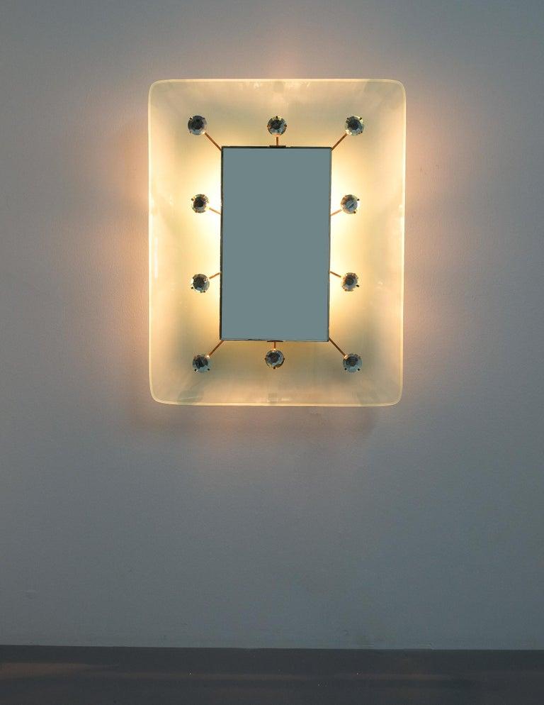 Italian Illuminated Fontana Arte Mirror by Max Ingrand, Italy, circa 1960 For Sale