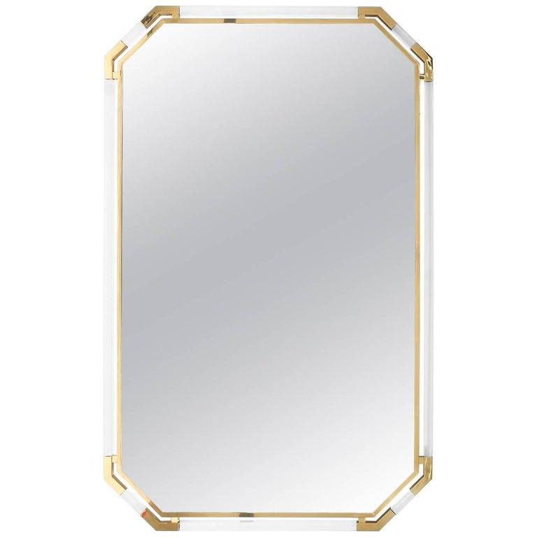 Very Large Lucite and Brass Mirror by Guy Lefevre for Maison Jansen, 1970 For Sale