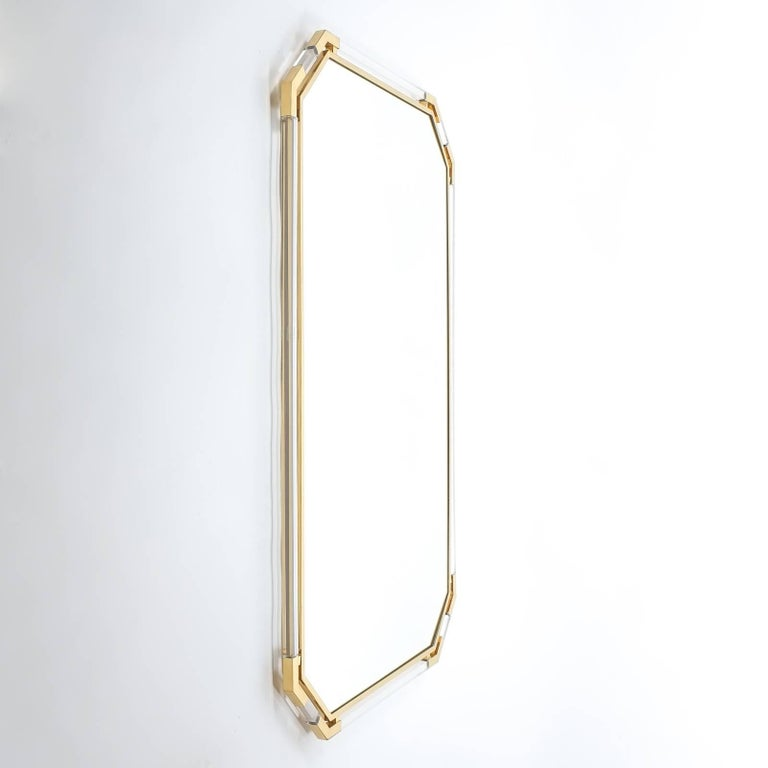 Mid-Century Modern Very Large Lucite and Brass Mirror by Guy Lefevre for Maison Jansen, 1970 For Sale