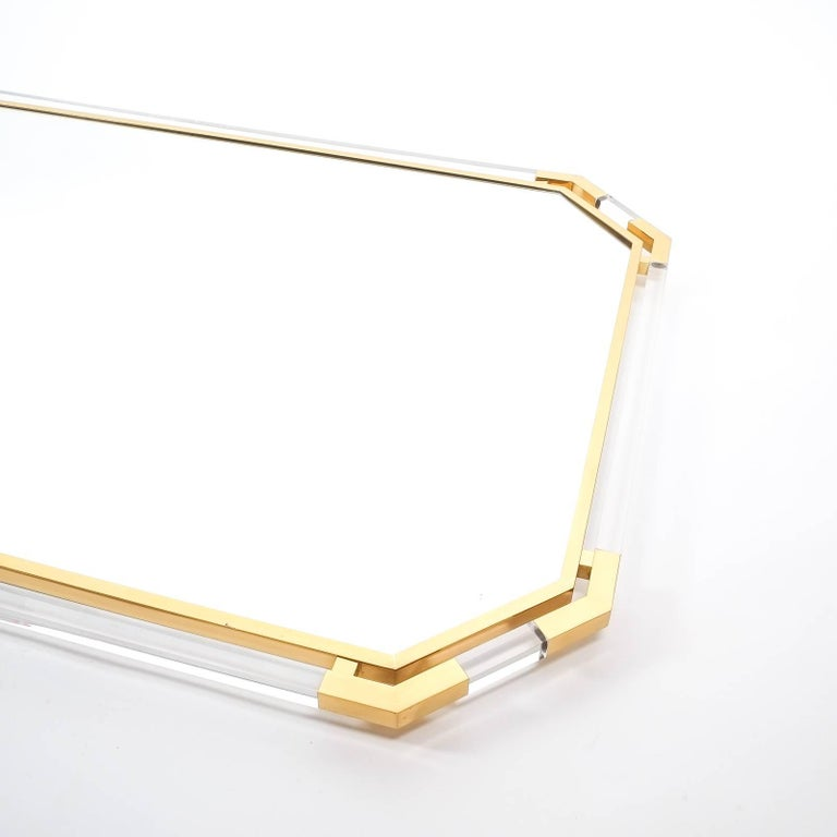 Very Large Lucite and Brass Mirror by Guy Lefevre for Maison Jansen, 1970 In Good Condition For Sale In Vienna, AT