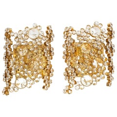 Pair of Gilt Brass and Crystal Glass Encrusted Sconces by Palwa