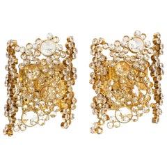 Paar Vergoldete Messing und Kristallglas Lampen von Palwa