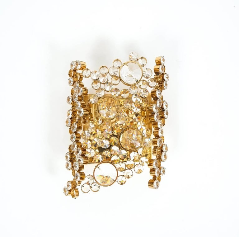 Mid-20th Century One of Three Gilt Brass and Crystal Glass Sconces by Palwa, Refurbished For Sale