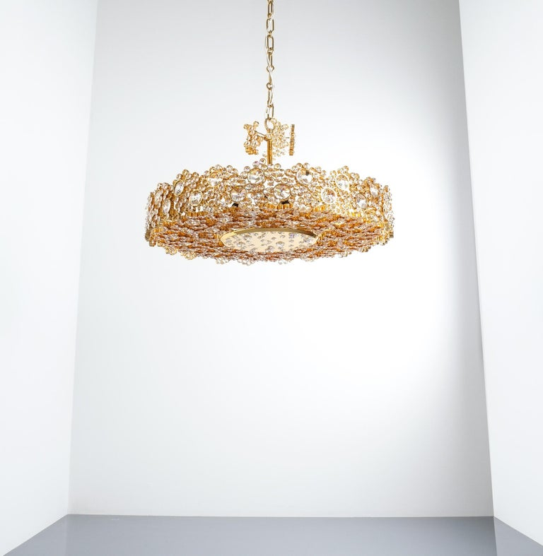 One of Three Gilt Brass and Crystal Glass Sconces by Palwa, Refurbished For Sale 1