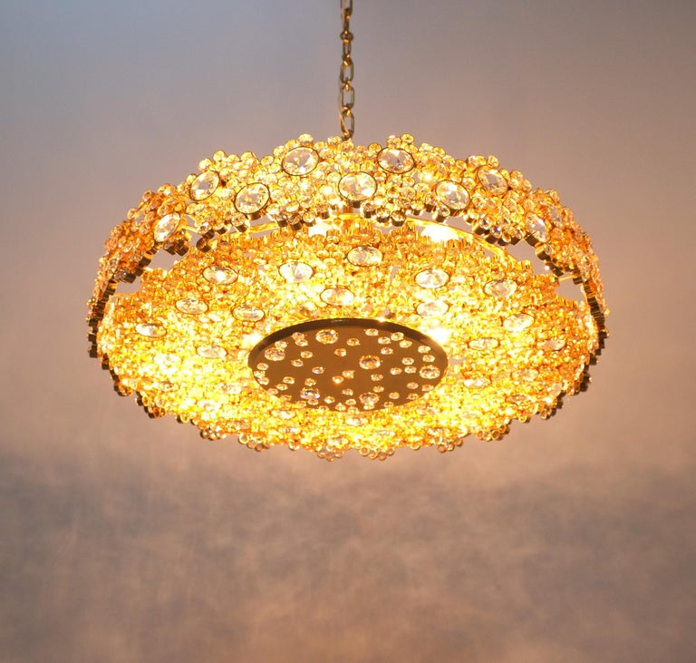 One of Three Gilt Brass and Crystal Glass Sconces by Palwa, Refurbished For Sale 2