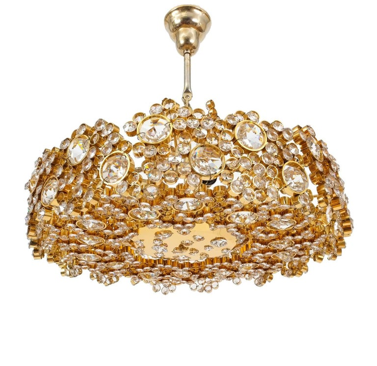 One of Three Gilt Brass and Crystal Glass Sconces by Palwa, Refurbished For Sale 3