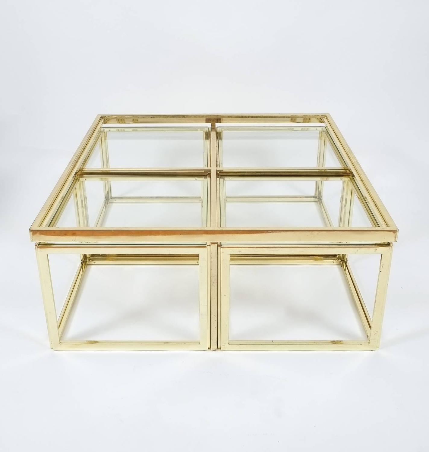 Square Segment Brass And Glass Coffee Table By Maison