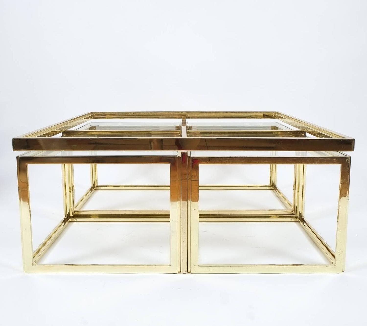 Square Segment Brass And Glass Coffee Table By Maison Charles At 1stdibs