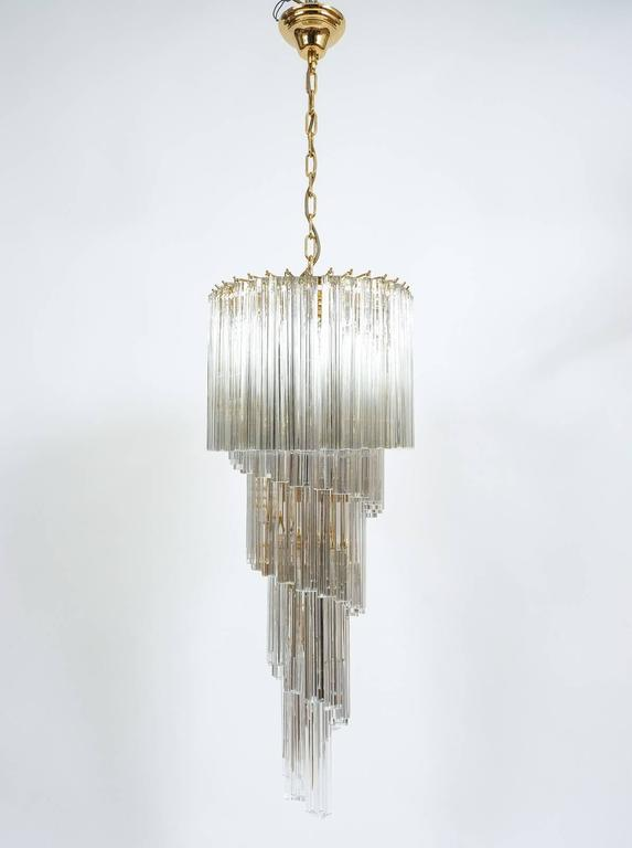 Italian Venini Five-Tier Swirling Chandelier Lamp with Murano Glass Triedri Prisms, 1960 For Sale