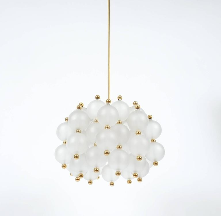 Enameled Satin Glass Chandelier Lamp in the Style of Seguso With Gold Knobs, circa 1980 For Sale