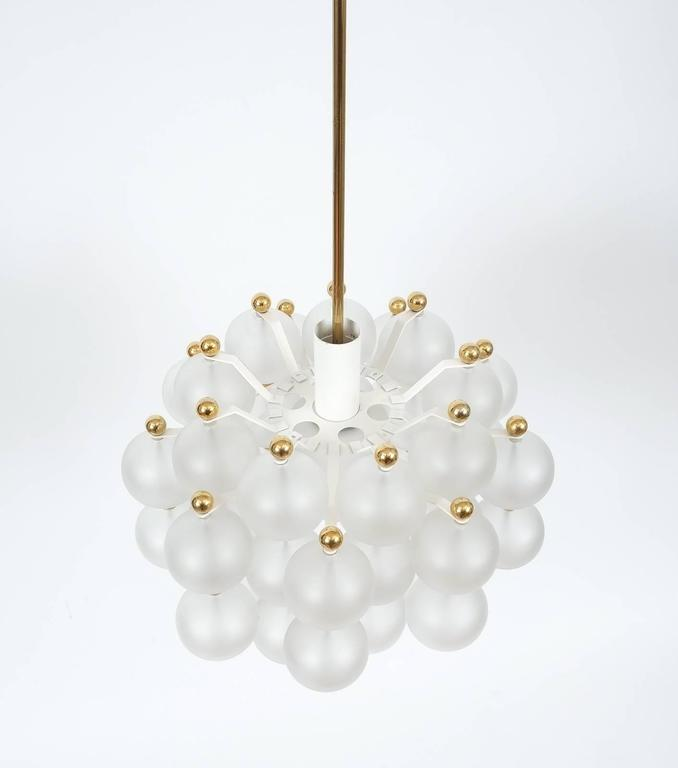 Mid-Century Modern Satin Glass Chandelier Lamp in the Style of Seguso With Gold Knobs, circa 1980 For Sale