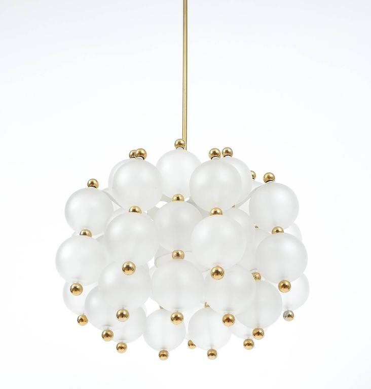 Italian Satin Glass Chandelier Lamp in the Style of Seguso With Gold Knobs, circa 1980 For Sale