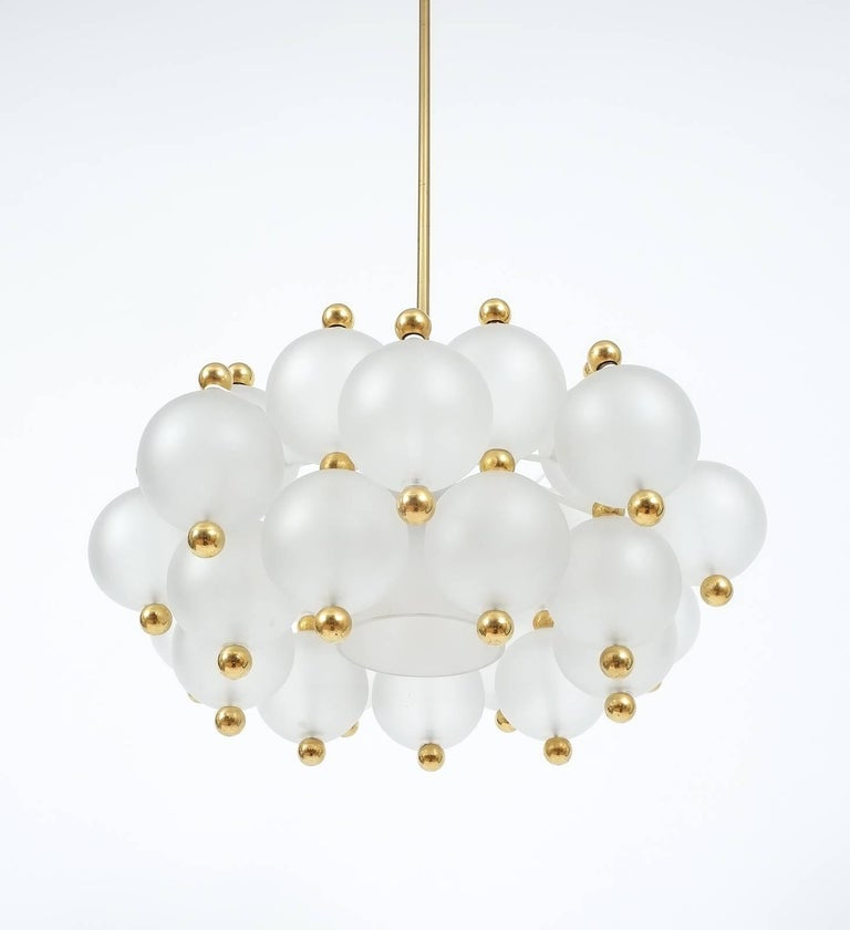 Brass Satin Glass Chandelier Lamp in the Style of Seguso With Gold Knobs, circa 1980 For Sale