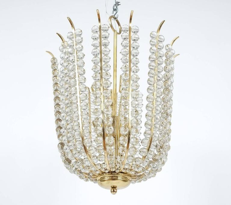 Polished Majestic Basket Crystal and Brass Chandelier Bakalowits, circa 1950 For Sale