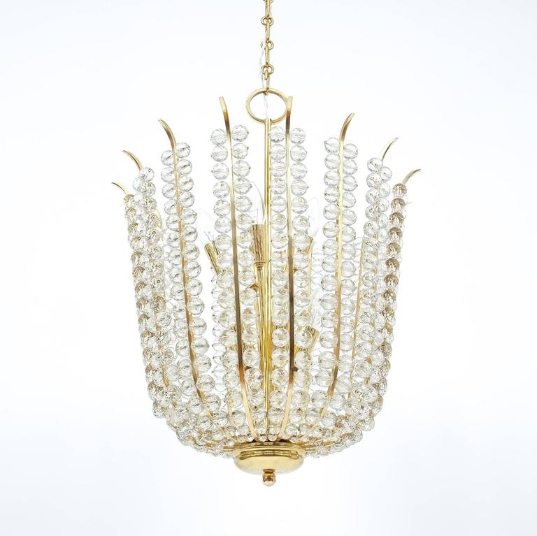 Majestic Basket Crystal and Brass Chandelier Bakalowits, circa 1950 For Sale 1