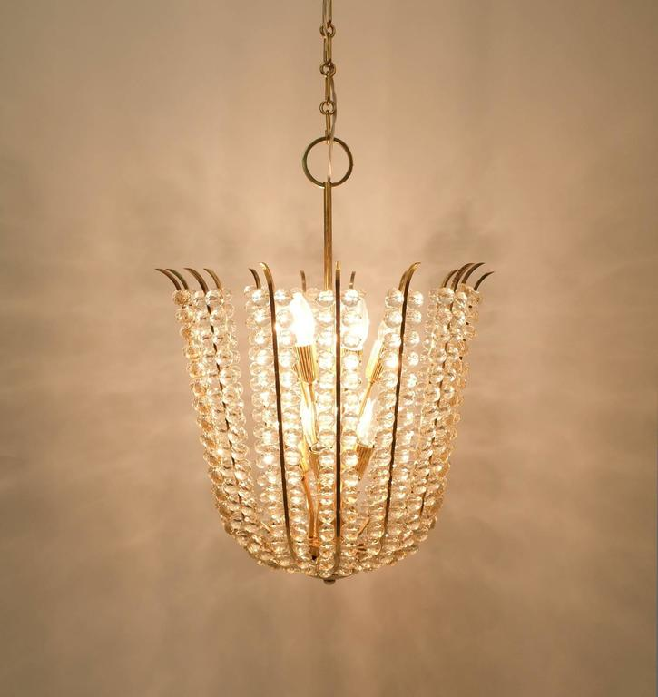 Mid-Century Modern Majestic Basket Crystal and Brass Chandelier Bakalowits, circa 1950 For Sale