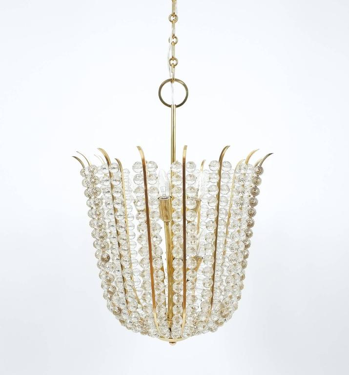 Majestic Basket Crystal and Brass Chandelier Bakalowits, circa 1950 For Sale 2